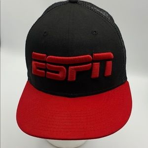 New Era ESPN black Red trucker mesh hat cap